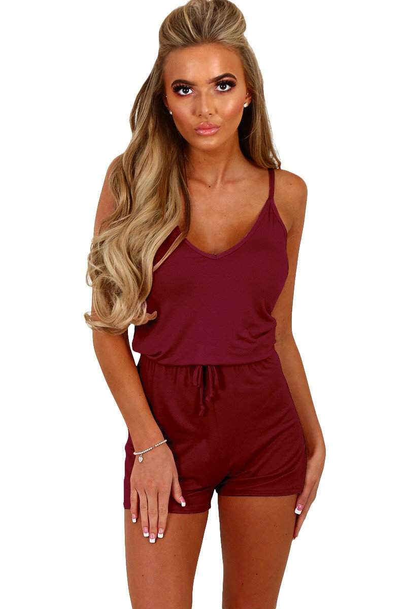 Candy Color Spaghetti Straps Sleeveless Short Jumpsuit