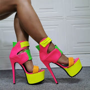 Party Bright Color PU Platform High Heel Sandals