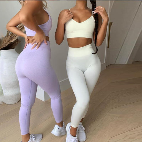 Yoga Plain Tank Top Bodycon High Waist Skinny Two Pieces Set
