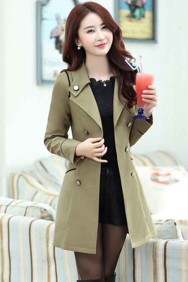 Pure Color Long Sleeves Lapel Slim Long Coat
