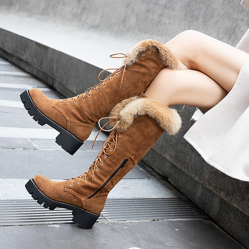 Fur Platform Lace Up Chunky Heel Knee High Boots