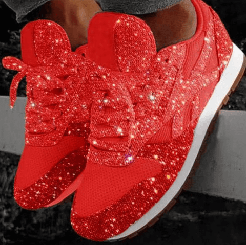 Fashion Chunky Glitter Lace Up Patchwork Sneakers