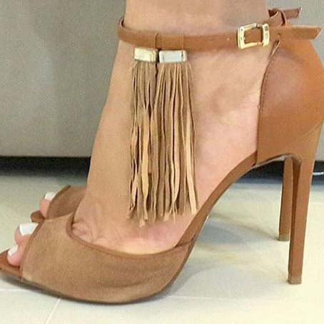 Brown Suede High Heel Fringe Sandals
