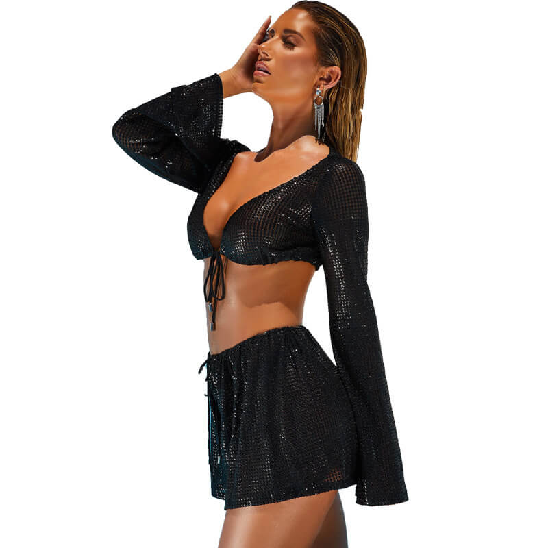 Deep Crop Top Crop Top High Waist Shorts Set