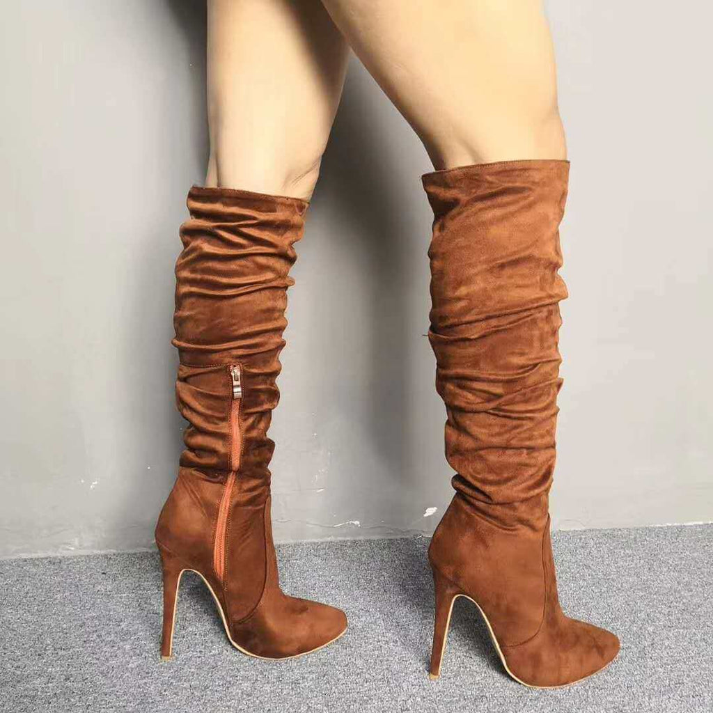 Suede Brown Ruched High Heel Knee High Boots