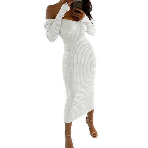 Off Shoulder Long Sleeves Big V-neck Long Tea-length Dress