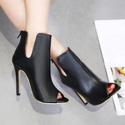 Peep Toe Cut Stiletto High Heel Ankle Boot Sandals