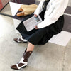 Fashion Brown Leather Square Toe Chunky Heel Calf Boots