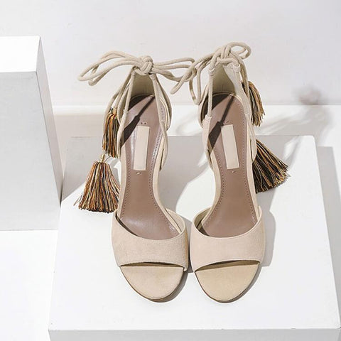Strappy Ankle Fringe Cutout  Round Toe Sandals