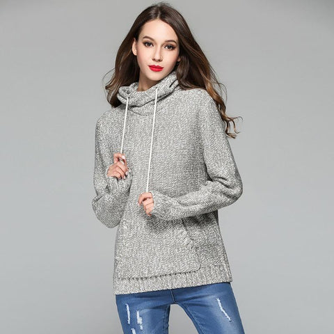 High Neck Pocket Knit Wear Hooded Sweater