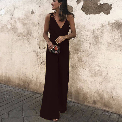 Candy Color Chiffon Wide Leg Jumpsuits