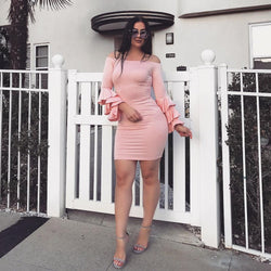 Long Trumpet Sleeves Off Shoulder Short Bodycon Dress