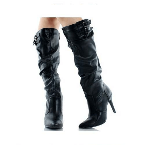 Leather High Heel Buckle Fold Knee High Boots