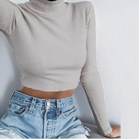 Tight Turtleneck Crop Striped Pullover Sweater