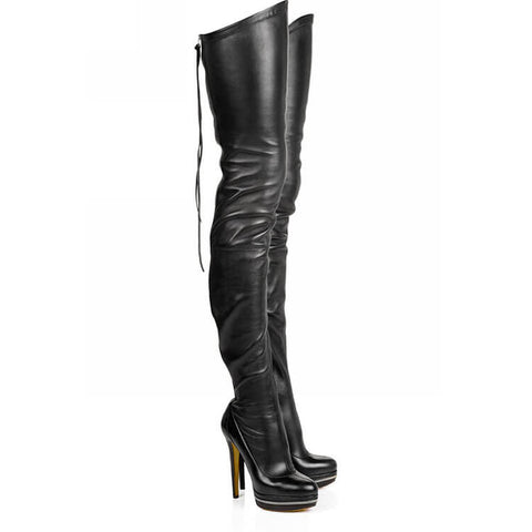 Black Platform Leather Thigh High Zipper Boots