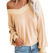 Loose V Neck Long Sleeve Knit Blouse
