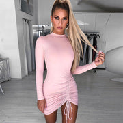 Long Sleeve Bodycon Drawstring Dress