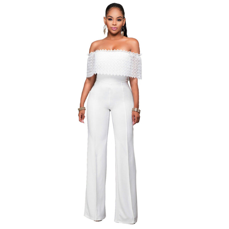 Pure Color Strapless Short Sleeves Long Jumpsuit