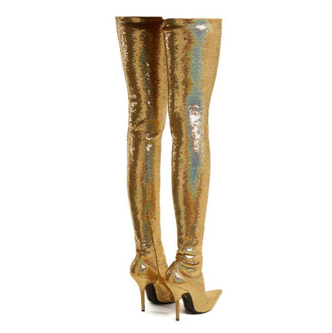 High Heel Glitter Pointed Toe Thigh High Boots