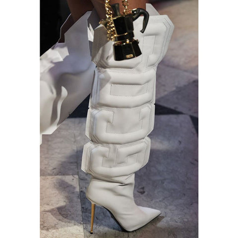 Fashion Letter Pointed Toe High Heel Knee High Boots