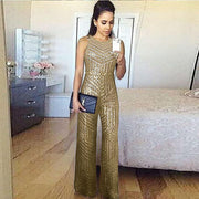 Sequin Sleeveless Wide Leg O Neck Jumpsuits