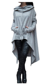 Pure Color Long Sleeves Loose Irregular Long Hoodies