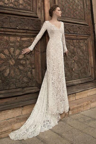 Lace Transparent Deep V-neck Long Sleeves Floor-Length Dress