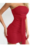 Bandage Strapless Solid Color Short Bodycon Dress