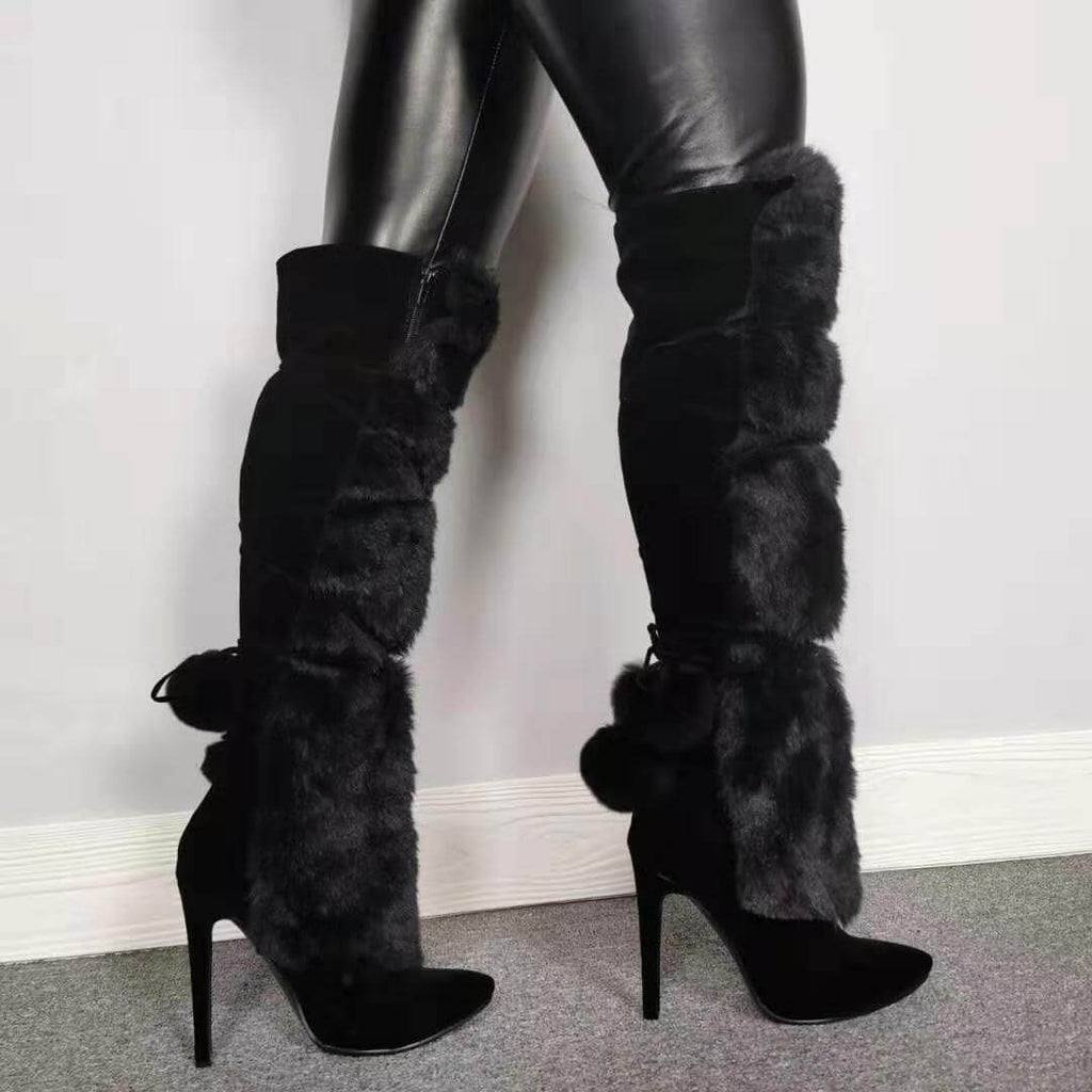 Black Fur Suede Knee High Boots