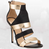 Leather Patchwork Open Toe High Heel Sandals