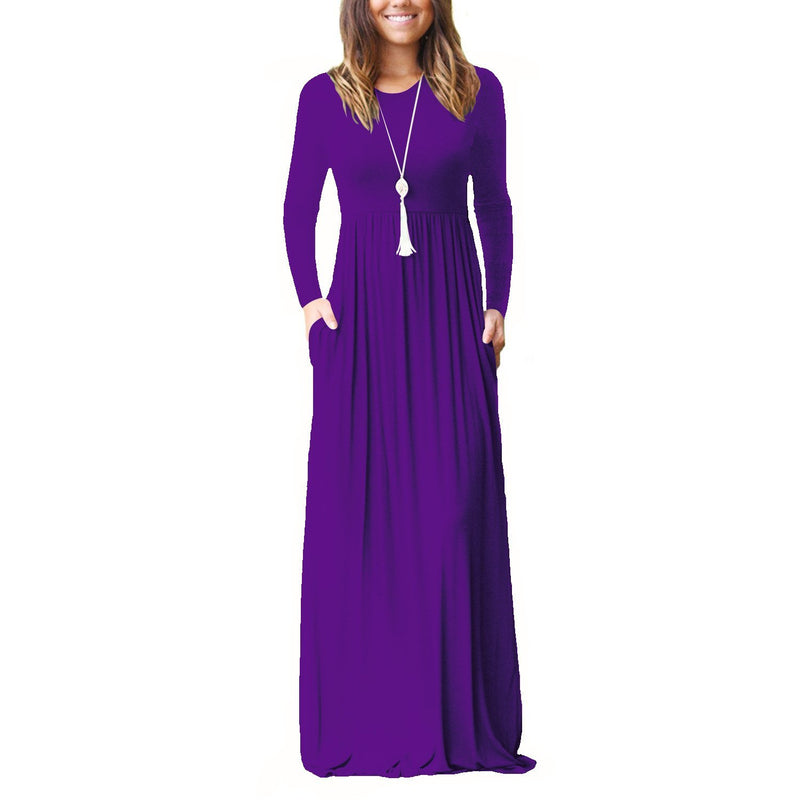 Pure Color Long Sleeves V-neck Long Dress