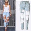 Holes Loose Solid Blue Straight 9/10 Boyfriend Jeans - Meet Yours Fashion - 1