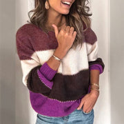 Fashion Crewneck Colorblock Patchwork Knit Sweater