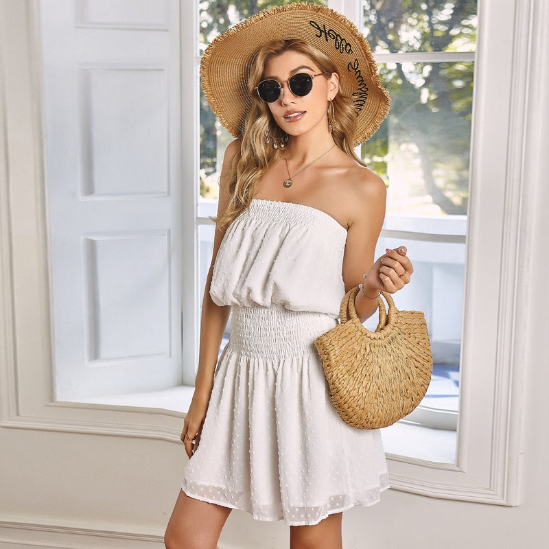 Off Shoulder High Waist Midi Dress