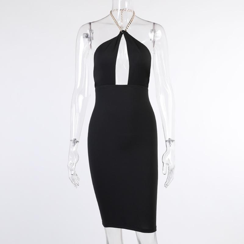 Hollow Out Sexy Chain Midi Dress