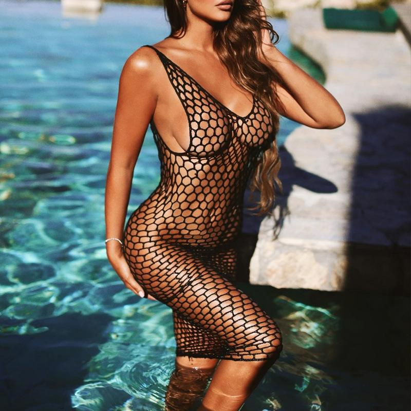 Mesh cut-out suspender with sunscreen skirt/Beach Dress