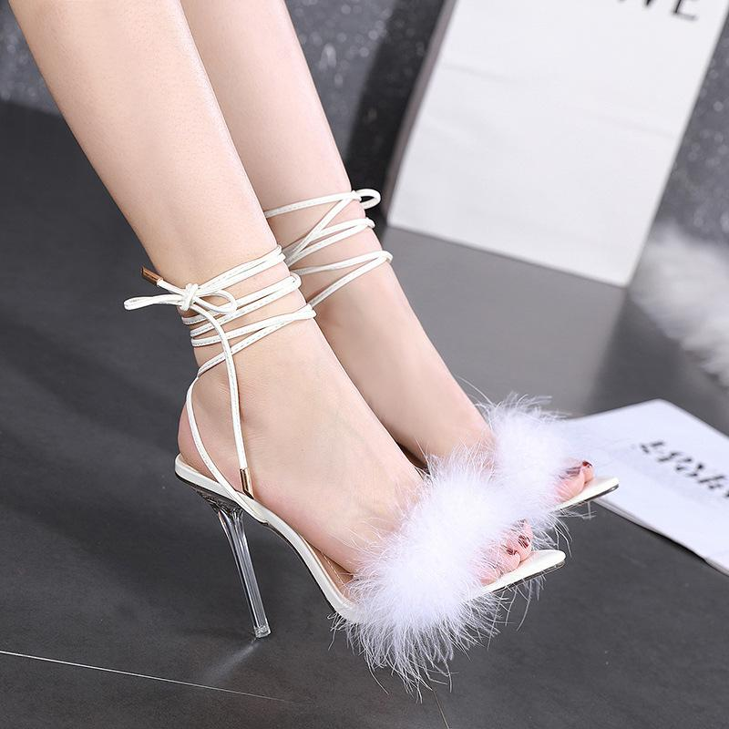 Transparent high heel feather strapped sandals