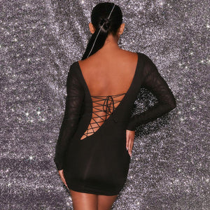 Long sleeve mesh pleated open back hollow out Dress