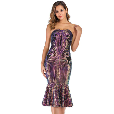 Sequins Strapless Slim Bodycon Fishtail Party Dress
