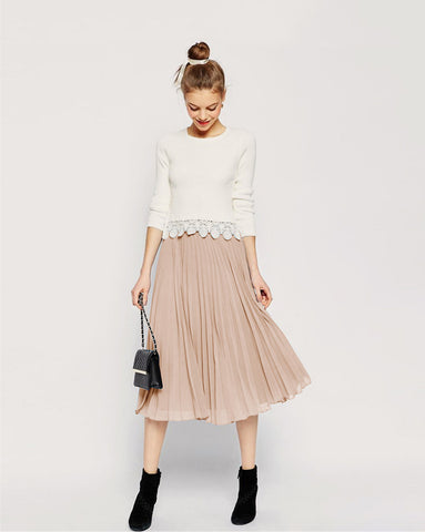 Pure Color Chiffon Pleated Big Short Skirt