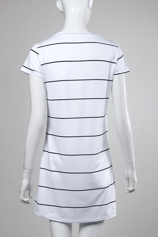 Stripe Knee Length Short Sleeve Mini Dress