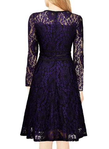 Solid Color Long-sleeved lace necklace zipper Party Dress