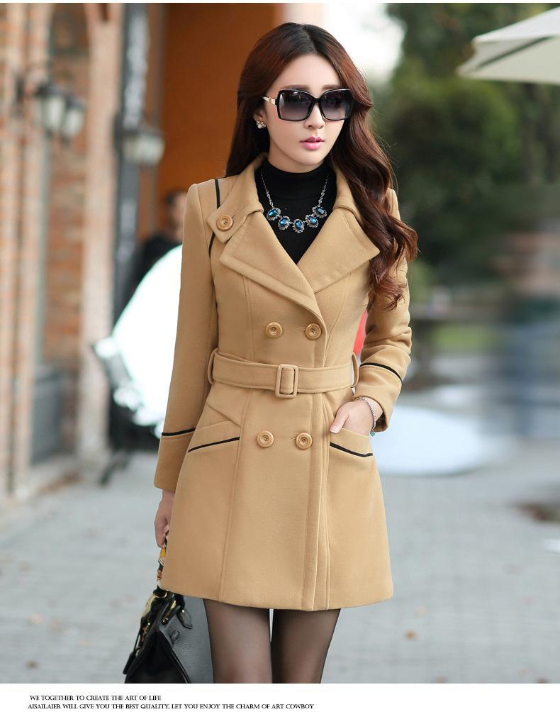 Slim Long Sleeves Button Wool Length Coat With Belt on