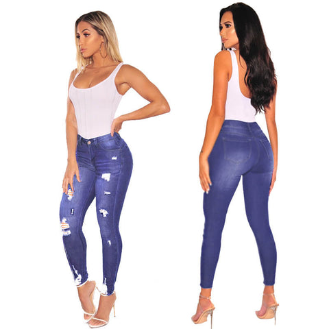 Sexy High Waist Stretch Ripped Skinny Pants