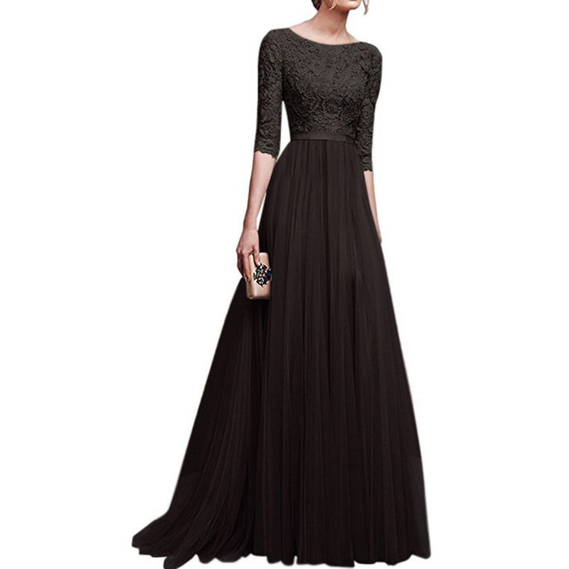 Lace Patchwork Half Sleeves Long Party Dress