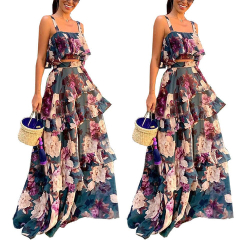 Spaghetti Straps Crop Top Flower Print MAXI Skirt Set