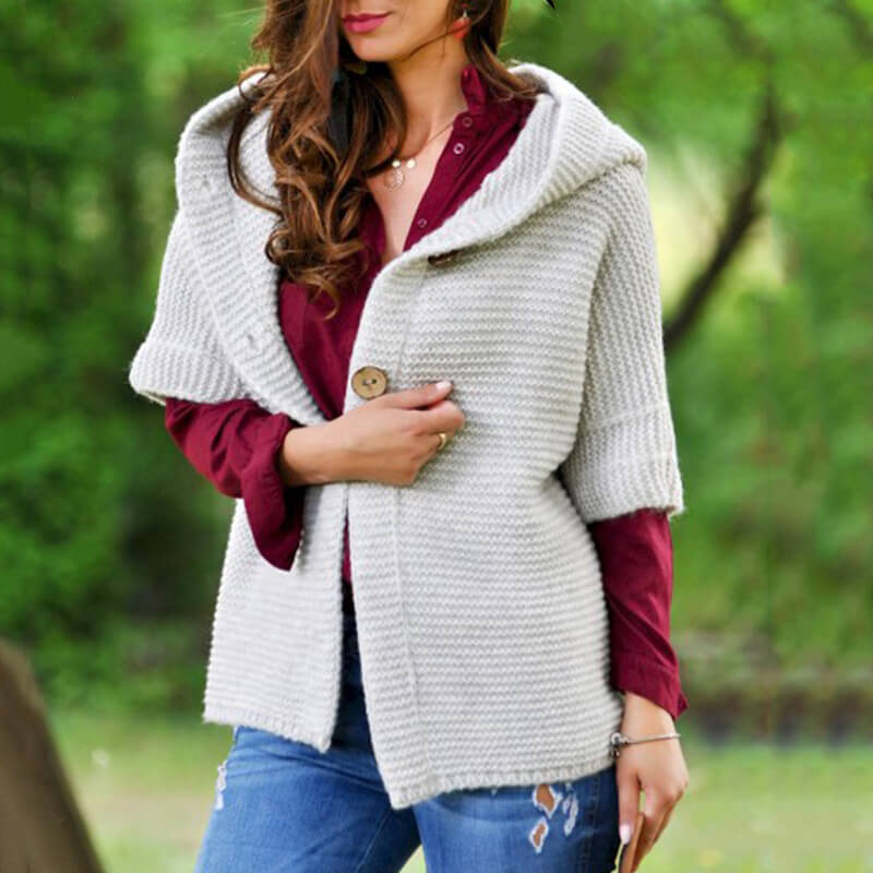 Button Up Half Sleeve Hooded Cardigan Sweater