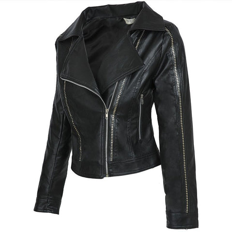 Faux Leather Cuff Moto Jacket