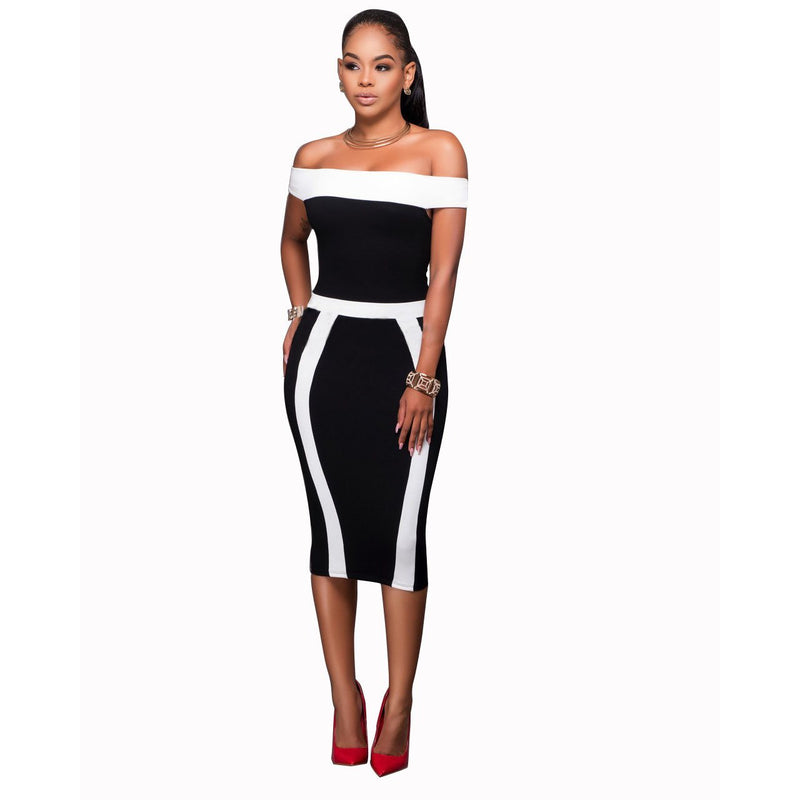 Off Shoulder Patchwork Slim Knee-length Dress