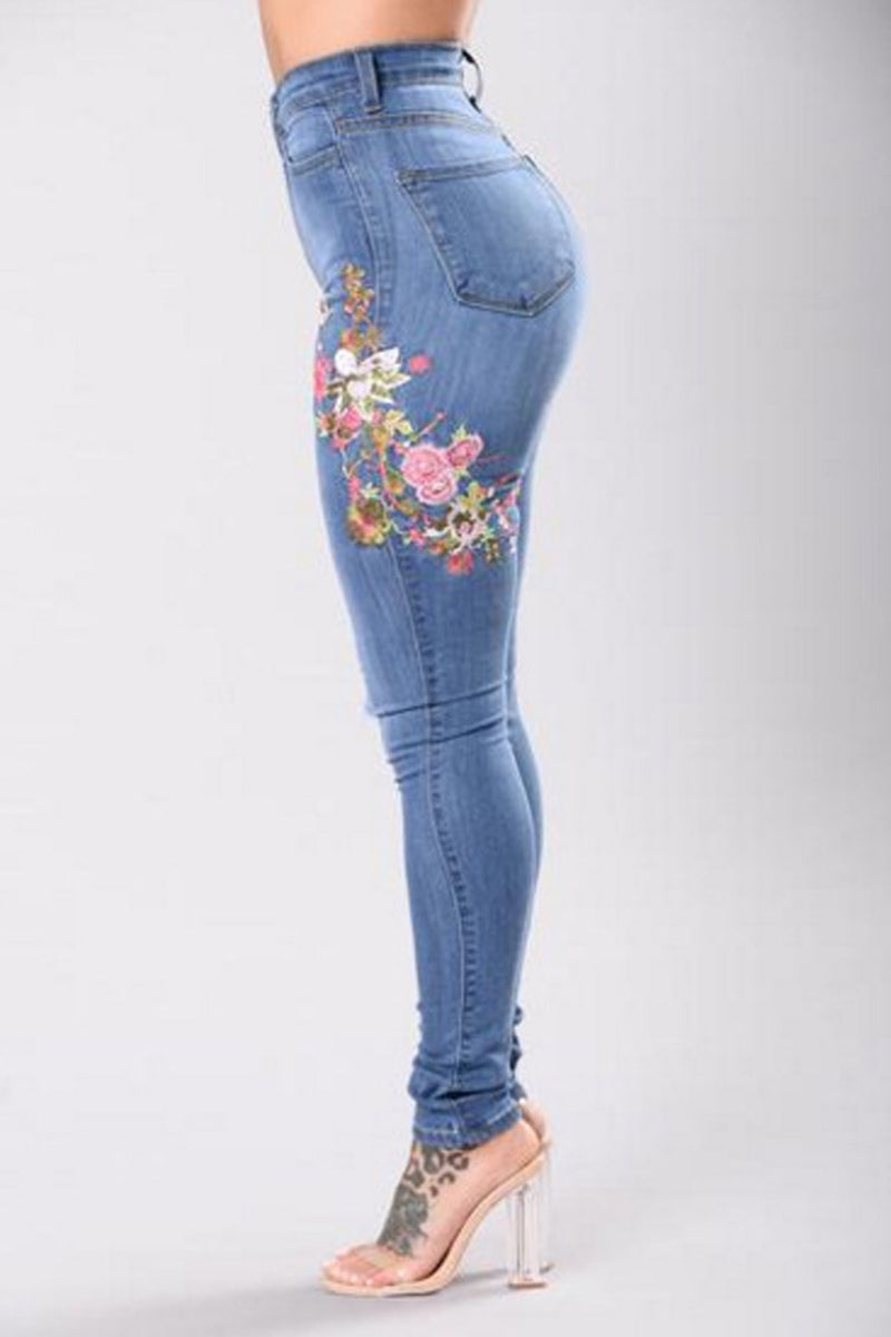 Flower Embroidery Middle Waist Cut Out Holes Long Skinny Jeans